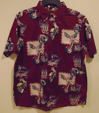 NWT Men's Clear Water Outfitters SS Medium Button Front Vintage Motorcycle Shirt