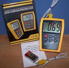 Scientific Digital Thermometer 2 K Type Temperature Sensor HVAC Tool C F DM6802