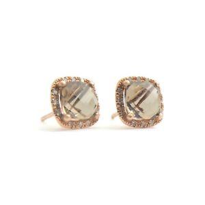 Smokey Topaz Diamond Halo Stud Earring in 14K Rose Gold, 2.04 CTW, 1.49 Grams