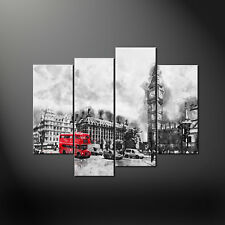 LONDON BIG BEN RED BUS CANVAS PRINT PICTURE WALL ART ABSTRACT DESIGN SET OF FOUR