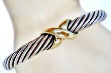 David Yurman X Cable Cuff Bracelet Sterling Silver 14K Gold 7MM DY