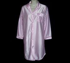 Vtg Pristine Pink Glossy Satin Pin Stripe Quality Fem Sleepshirt Nightgown S