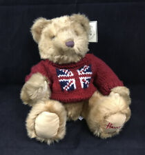 Harrods Knightsbridge Plush Teddy Bear British Union Jack Flag Red Sweater New
