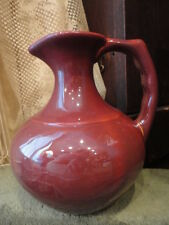 Pottery Water Pitcher Jug Burgundy 7-1/2 in Tall Vintage Usa
