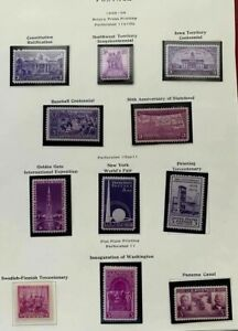 1938-39 US  Commemorative Year Set SC #835-838, #852-858 eleven Stamps