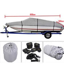 New 17-19Ft Waterproof 600D Fabric Trailerable V shape Boat Cover Gray
