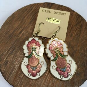 Vintage Cloisonne Earrings Floral New Old Stock Gold Tone