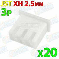 20x Carcasa Conector JST XH 2.5mm 3P plastico blanco cable 3 pines