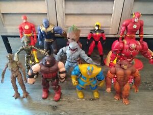 """Amazing Lot of (12)~~~DC, Marvel, Action Figure 8""""-12"""" LARGE~~~Mixed Loose Lot"""