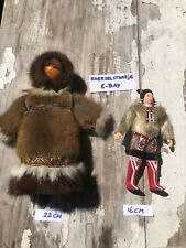 2 X Inuit Fur Doll Mid Century Vintage Eskimo Greenland Canada Native Tribal