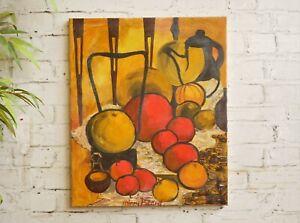 Vintage 1950s Mid Century Modern Modernist Abstract Art Still Life Oil Painting