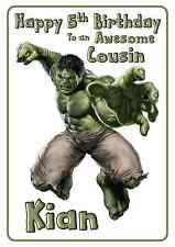 Hulk Avengers personalised A5 birthday card son brother nephew grandson name age