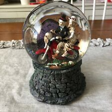 Motorcycle Skeleton Couple Water Globe Halloween Musical Decor of the Dead Nwt