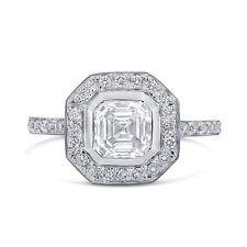 Forever One Asscher Moissanite & Diamond Engagement Ring A42