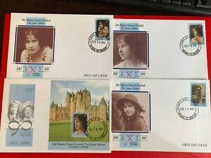 ST VINCENT GRENADINES 1991 FDC x 4 QUEEN MOTHER 90TH BIRTHDAY GLAMIS CASTLE