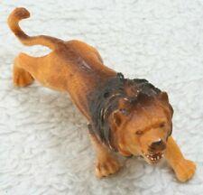 "Realistic Yellow Brown Castor Fiber Plastic Lion Animal Model Play Toy 6"" x 3"""