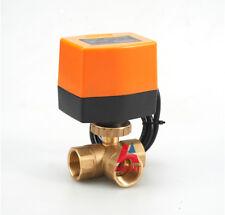"NEW Motorized Ball Valve DN15 AC110V, 3 way zone  motor ball valve G1/2"" BSP"