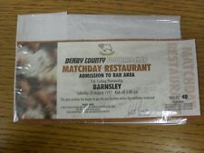 30/08/1997 billet: Derby County V Barnsley [Club Restaurant]. Merci de vie
