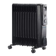 ProElec Oil Filled Radiator 11 Fin 2500W Black Heater Thermostat Office Bedroom