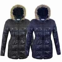 LADIES WOMENS FUR HOODED QUILTED PADDED WETLOOK SHINNY BELTED JACKET PUFFER COAT