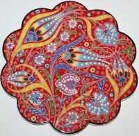 """Red 7"""" Turkish Iznik Tulip & Floral Pattern Ceramic Hot Plate Trivet Tile"""