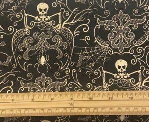 Fat Qr Midnight Halloween Spooky Skeleton Damask Black Cotton Quilting Fabric