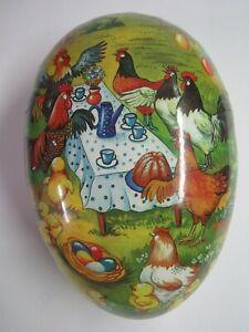 "New 9 1/2"" German Fillable Paper Mache Egg Hen Tea Party"