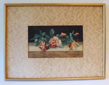 1876 EDITH WHITE EARLY ROSES ORIGINAL WATERCOLOR - LISTED - FRAMED