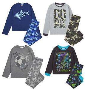 Boys Long Pyjamas Kids Childrens Cotton Jersey Sleep Pyjama Set Nightwear PJs