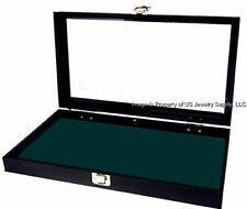 1 Glass Lid Dark Green Pad Display Box Case Medals Militaria Pins Jewelry Knife