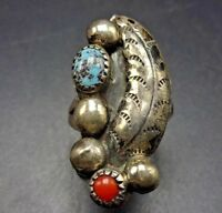 OLD PAWN Vintage NAVAJO Hand Stamped Sterling Silver CORAL TURQUOISE RING size 8