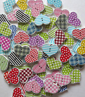 MIXED WOODEN LARGE HEART 2 HOLE BUTTONS/CRAFT/SEWING/VAR QTY