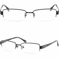 Schwarz Herren Brille Brillengestell Titan Metall Fassung Leichte Halbrandbrille