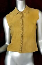Miu miu suede sleeveless cropped leather top button down blouse Sz4 EU40 vest