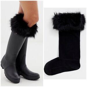 Hunter Black Faux Fur Cuff Tall Boot Socks Size L Uk 6-8 New