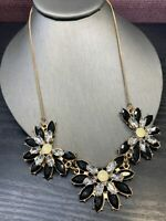 Vintage Gold Tone Clear Rhinestone Flower Black Clear Statement necklace 18""