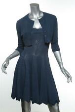 ALAÏA Womens Slate Blue Fit & Flare Dress Cropped Jacket Set US8/10 FR40/42