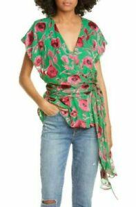 New Alice + Olivia Essie Poppy floral Print Wrap v-neck green Blouse Size  XS