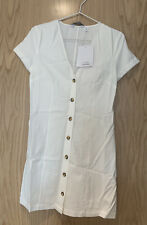 & other stories Hourglass Cotton Blend Mini Dress white size 34