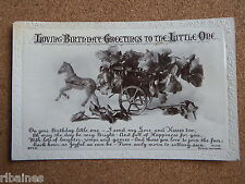 R&L Postcard: Birthday Greetings Little One, Horse & Cart, Flowers, Beagles
