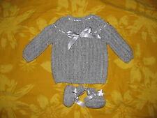 layette bébé,brassière-chaussons0/3 mois/ classique  confort gris souris noel