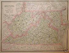 1889 Virginia & W. Virginia, Md. & Delaware Map^