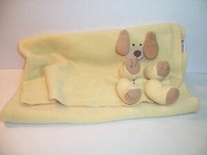 TY LOVE TO BABY CUDDLETEDDY DOG Yellow Security Blanket Puppy Fleece Lovey VGC