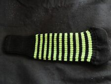 Knitted zebra style Fairway & Driver Golf Club head cover Black / Neon Green