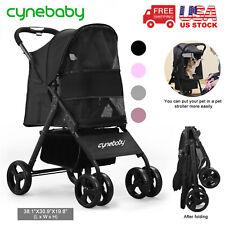 Cynebaby Pet Stroller Large Dog Cat 4 Wheels Folding Jogger Walk Easy Cart 2021
