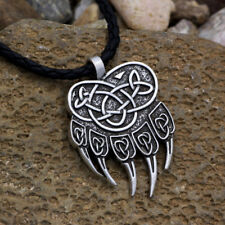 Norse Viking Necklace Celtic Knot Amulet Odin Pendant Leather Cord Men's Jewelry