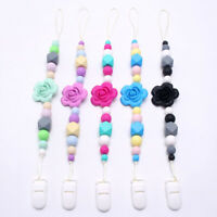 Baby Silicone Beads Flower Teether Pacifier Clips Teething Dummy Soother Chain