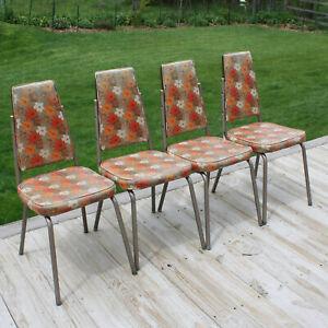 Set of 4 Douglas Furniture Corporation Vintage Orange Floral Vinyl Dining Chairs