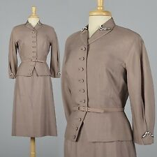 M Vintage 1950s 50s Silk Skirt Suit Hourglass Wasp Waist Beaded Separates Pinup