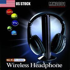 New 5 in 1 Hi-Fi Wireless Headset Headphone Earphone for TV DVD MP3 PC Black MAU